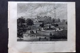 ILN 1880 Antique Print. Manley Hall, the New Public Park for Manchester